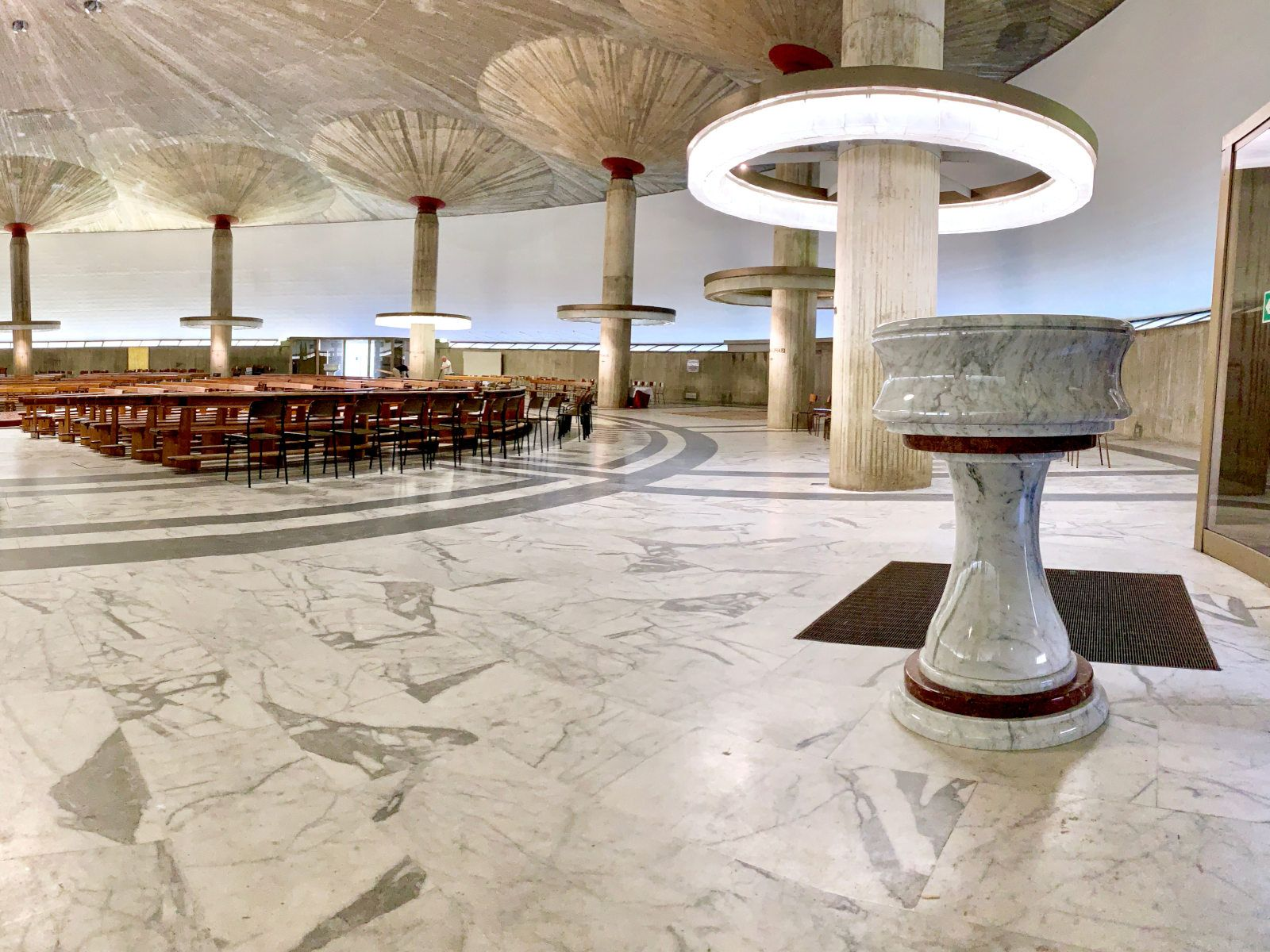 An holy water stoup made of Carrara marble