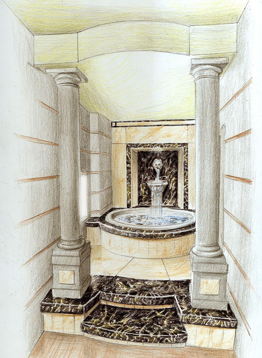 Fontana con finiture in marmo e altri materiali ricercati